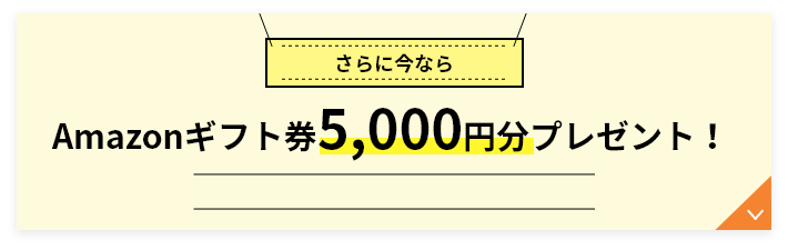 今ならさらにAmazonギフト券5,000円分プレゼント